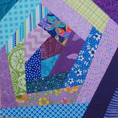 Crazy quilt block - stitch and flip method. Mine did not turn out this good. Quilting Tutorials, Quilting Ideas, Quilt Patterns, Crazy Quilt Blocks, Crazy Quilting, Quilting Board, Charm Pack, Scrappy Quilts, Fabric Art