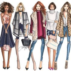 Fashion Illustration Ideas The girl gang is heading to now open at the Burlington Mall. Discover their on-trend fashions, great deals and more! Illustration Mode, Fashion Illustration Sketches, Fashion Sketches, Dress Sketches, Design Illustrations, Portrait Illustration, Fast Fashion, Fashion Art, Girl Fashion