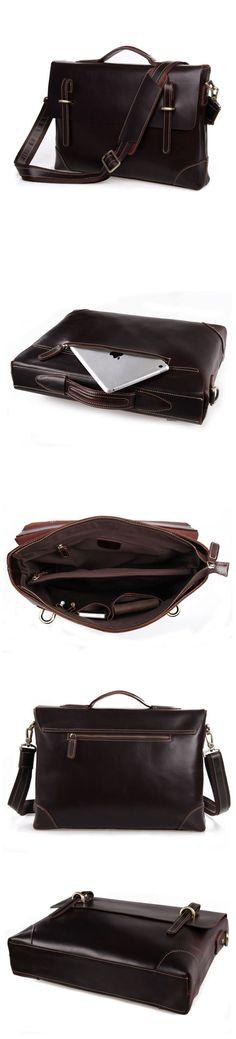 Crazy Horse Leather Men Satchel Bag Handmade Briefcase Vintage Shoulder Messenger Bag W07228 Mens Satchel, Satchel Bag, Photography Bags, Crazy Horse, Leather Briefcase, Canvas Leather, Travel Bags, Leather Men, Messenger Bag