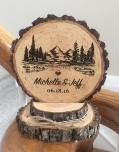 Rustic Mountain Wedding Cake Topper Tree Cake Topper Wood