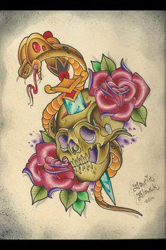 Traditional cobra, skull, and roses tattoo flash by Darin Blank. Instagram: @blankenstein83