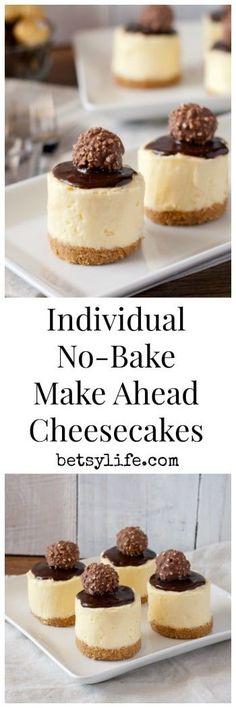 Individual, No-Bake, Make ahead cheesecakes