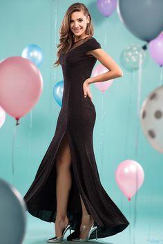 İroni Üstü Tül Simli Siyah Elbise