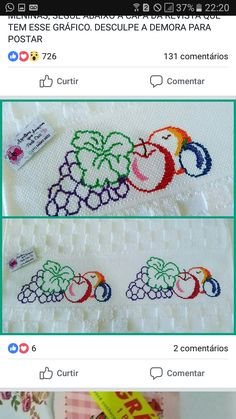 Sewing Projects, Projects To Try, Embroidery Stitches Tutorial, Cross Stitch Kitchen, Hanging Towels, Baby Mouse, Crochet Cross, Cross Stitch Flowers, Cross Stitch Designs