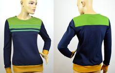 Sweat Pullover dunkelblau grün S von Jaqueen auf DaWanda.com