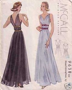 McCall 9638 | 1938 Misses' Evening Dress
