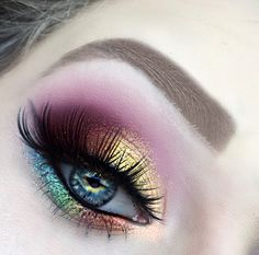 Rainbow Eyeshadow, Thanos, Infinity Stones,Marvel Makeup Tutorial, Marvel makeup, sugarpill burning heart pallet, urban decay electric pallet, vibrant makeup, glittery, glitter, glitter injections, rainbow eye makeup, Too Faced born this way