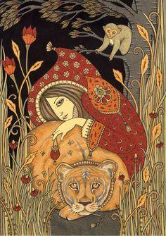 Protector of the Wild Ltd Ed Canvas Giclee by AnitaInverarity Illustrations, Illustration Artists, Black Cat Illustration, Tarot By Cecelia, Strength Tarot, Art Journals, Folk Art, Fairy Tales, Art Drawings