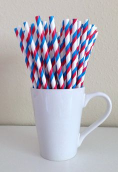 Paper Straws - 25 Red, White, and Blue Striped Patriotic Party Straws 4th of July Military Memorial Day Summer BBQ Wedding Graduation by PuppyCatCrafts, $3.60