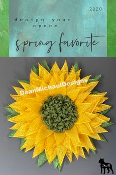 Add a burst of color to your wall or door. This original flower from DeanMichaelDesigns measures about 23 inches in diameter. Made from bright yellow poly burlap with a green jute center. This piece will brighten any room; sure to catch the eye over the couch, on a wall or door. Interior design. Exterior design. Curb appeal. Spring decor. Decorate your space.
