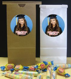 Graduation party favor bags for a candy buffet!