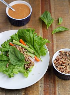 Quinoa Lettuce Wraps with Spicy Peanut Sauce #quinoa #vegan #healthy