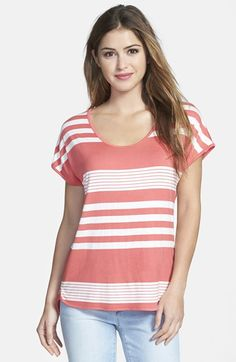 Gibson Button Back Short Sleeve Stripe Tee available at #Nordstrom