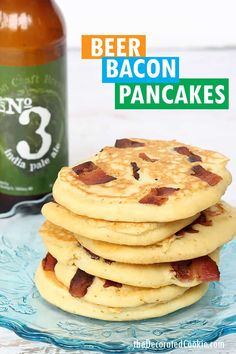 Beer and bacon pancakes for the best breakfast ever.Father's Day breakfast idea, or just for everyday, whip up these delicious pancakes. Bacon Recipes, Brunch Recipes, Dessert Recipes, Brunch Ideas, Father's Day Breakfast, Quick And Easy Breakfast, Pancakes And Bacon, Tasty Pancakes, High Protein Smoothies