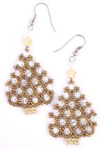 Netted Christmas Tree earrings 2 Beading Pattern by Ruth Kiel at Bead-Patterns.com