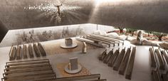 Studio Kuadra's Iconographic Design Selected as Winner of Cinisi Church Competition,Interior Rendered View. Image Courtesy of Studio Kuadra