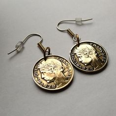 1932 France 50 centimes coin earrings dangle and drop ear wire jewelry female Marianne Lady miss Goddess of Liberty cornucopia No.E000030 by acnyCOINJEWELRY on Etsy