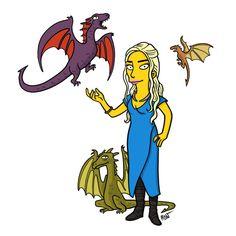 Daenerys Targaryen, Mother of Dragons Simpsonized by ADN