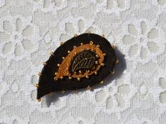 broach paisley leather leather broach Gifts for mom by forchild