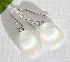 White Dichroic Glass Dangle Earrings - Winter White Glass Drop Earrings on 925 Sterling Silver Earwires - Fused Glass Jewelry by TremoughGlass on Etsy