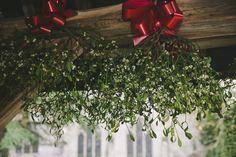 Christmas Wedding- Mistletoe archway into the church