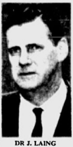 Dr. John Laing, Director of Forensic Medicine at the Dept. of Public Health, who, along with William Harold Brighton, the Gov't Medical Officer, conducted internal and external examinations of the bodies of Bogle and Chandler on Jan 2, 1963.   Sydney Morning Herald, May 22, 1963