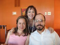 """With Austin YA author Jennifer Ziegler & Chris Barton at El Chile Cafe y Cantina."""