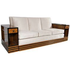 Art Deco Streamlined Sofa and Tables in Book Matched Walnut & Black Lacquer