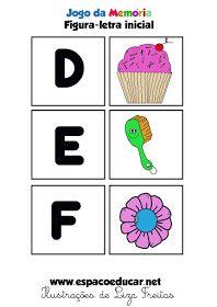 ESPAÇO EDUCAR: Jogo educativo atividade para a Alfabetização: Memória figura-letra som inicial grátis para imprimir!