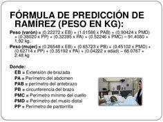 FÓRMULA DE PREDICCIÓN DERAMÍREZ (PESO EN KG):Peso (varón) = (0.22272 x EB) + (1.01586 x PAB) + (0.90424 x PMD)+ (0.3802... Weights Women, Weights