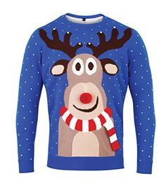 Blue Christmas Jumper '3D REINDEER'