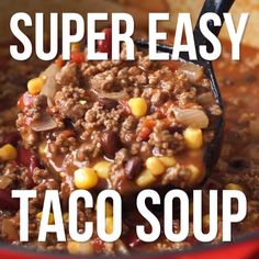 Taco Suppe Fleisch Käse low carb Quick and Easy Taco Soup Recipe is filled with ground beef, beans, corn and taco seasoning. It's a quick dinner that uses lots of pantry staples! Quick And Easy Taco Soup Recipe, Easy Soup Recipes, Stew Meat Recipes, Chilli Recipes, Vegetable Soup Recipes, Cabbage Recipes, Recipes Dinner, Lunch Recipes, Breakfast Recipes