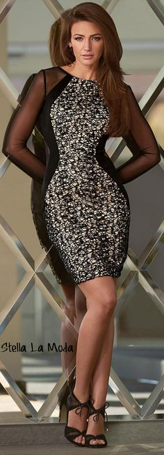 $28.99 Sheer Mesh Sleeves Insert Lace Splice Bodycon Dress
