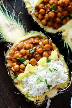 Vegan Chickpea Tikka Masala with Pineapple - Rich, healthy, flavorful, and nutritionally packed meal with a fruity, pineapple twist. http://NeuroticMommy.com #vegan #healthy