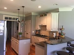 DIY: Farm Style kitchen Painted old cabinets and paint. Wall color is Sherman…