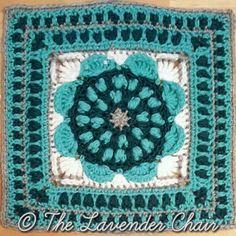 Sunflower Mandala Square Crochet Pattern Crochet Squares Afghan, Crochet Square Patterns, Crochet Blocks, Crochet Motif, Crochet Yarn, Free Crochet, Stitch Patterns, Granny Squares, Mandala Crochet
