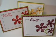 Pretty cards, die cut to show patterned paper underneath.