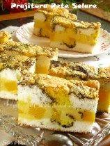prajitura-pete-solare-0 Romanian Desserts, Romanian Food, Romanian Recipes, My Recipes, Cake Recipes, Dessert Recipes, Good Food, Yummy Food, Sweet Pastries
