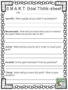 Smart Goals Worksheet | SMART Goals Template | Worksheets for Art ...