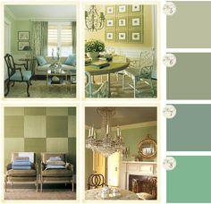 Shabby Chic Interiors: I colori per lo studio Vert de terre Lichen Chappel green Arsenic
