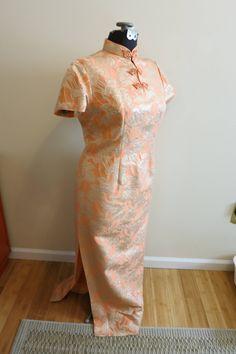 Dress Cheongsam Asian peach orange metallic brocade ginko leaf