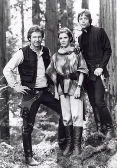 star wars behind the scenes (Harrison Ford aka Han Solo, Carrie Fisher aka Leia, and Mark Hamill aka Luke Skywalker)