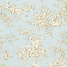 Blue Toile Fabric by the Yard   Discount Baby Toile Horizon Fabric   Carousel Designs 500x500 image