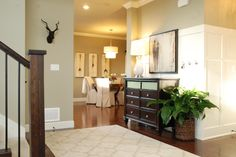 Paint- Our entire mainfloor is painted Mourning Dove by Martha Stewart Paints! It's a grey, green, taupe color :)