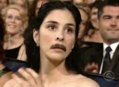 Sarah Silverman and Her Mustache. See More Courageous Mustaches @ http://www.buzzfeed.com/scope/19-people-with-really-couragous-mustaches-73i7 #lol #buzzfeed