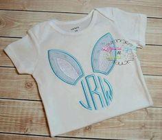 Bunny Ear Monogram Embroidered Shirt or Bodysuit - Bunny Shirt - Easter - Boys Easter Shirt on Etsy, $22.00