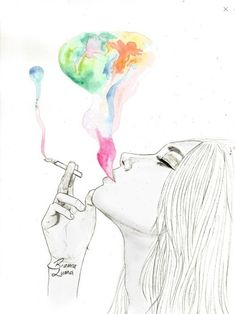 Uploaded by Aida Ruiz. Find images and videos about girl, cute and text on We Heart It - the app to get lost in what you love. Smoke Drawing, Pop Art Drawing, Girl Drawing Sketches, Dark Art Drawings, Smoke Art, Pencil Art Drawings, Painting & Drawing, Girl Smoking Art, Hippie Art