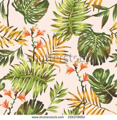 seamless tropical leaves print pattern background