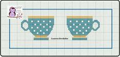 Cross Stitch Kitchen, Loom Beading, Cross Stitch Patterns, Beads, Crafts, Coffee Cups, Stitching, Monogram Alphabet, Dish Towels