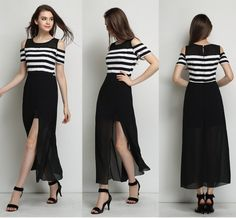 Fashion Long Off Shoulder Dress High Waisted Black and White Striped